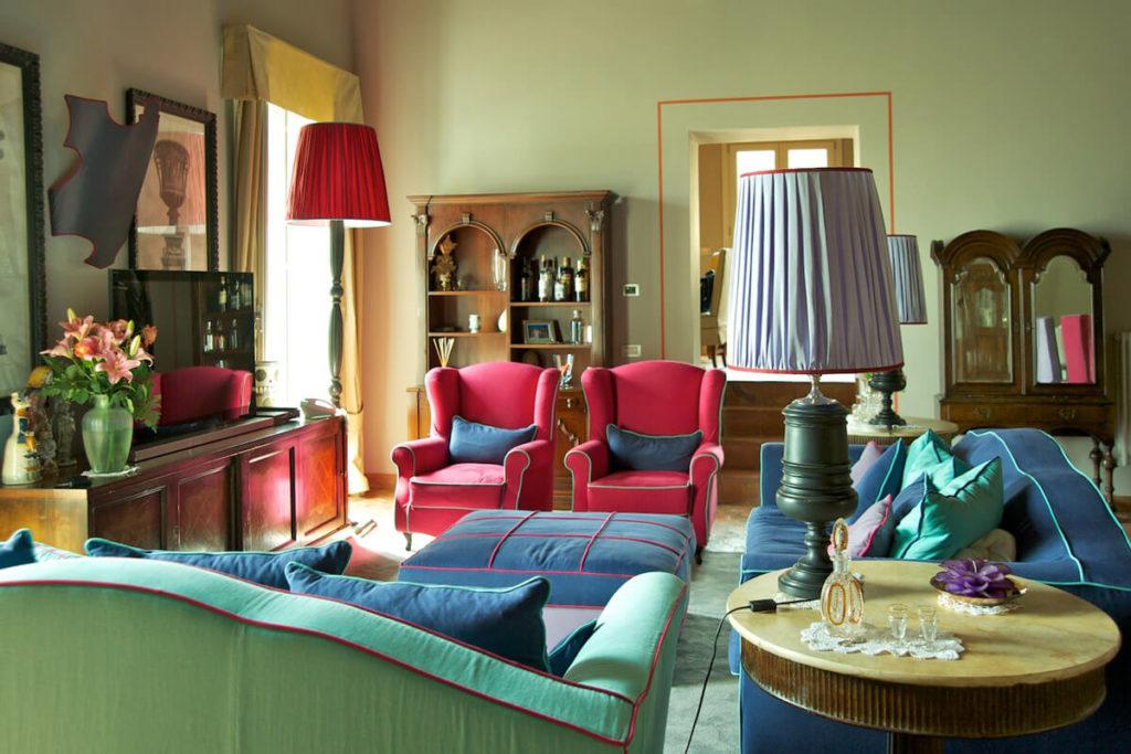 La lounge dell'hotel Villa Carlotta di Taormina